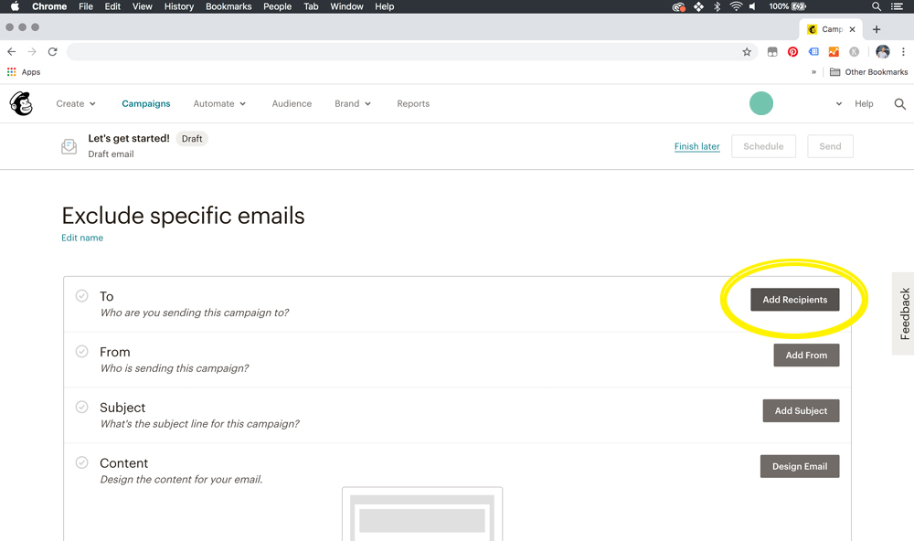 mailchimp - how to exclude emails from an audience for a campaign